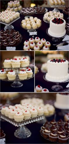 Cupcake displays for tables. Love the  display variations.