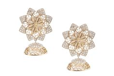 Jhumka earring with silver, gold and diamonds