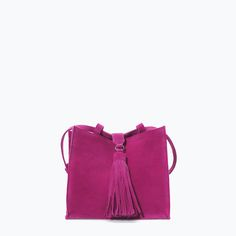 ZARA - SALE - LEATHER MESSENGER BAG WITH FRINGES