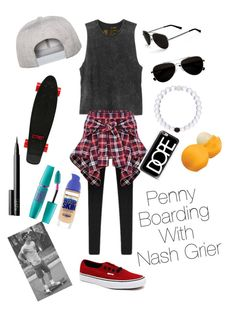 Penny Boarding With Nash Grier By Sddonald On Polyvore Featuring Polyvore Fashion Style Rvca Vans Calvin Klein Flexfit Casetify Maybelline
