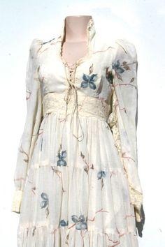 Vintage 70's GUNNE SAX Sheer Gauze Cotton Floral Hippie Prairie Dress Sz 9 #GunneSax #Dresses