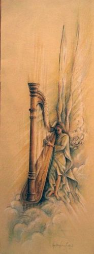 Angel and her harp... I guess this is what people imagine when they think of harpists as angels...