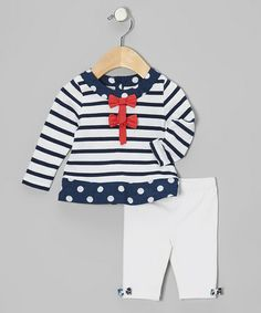 Look what I found on #zulily! White Nautical Stripe Tunic & Leggings - Infant & Toddler #zulilyfinds