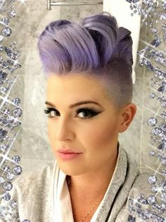 Kelly Osborne purple pastel shaved sided dyed hair