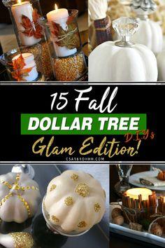 15 GLAM Dollar Tree D. Dollar Tree Halloween, Dollar Tree Fall, Dollar Tree Crafts, Thanksgiving Diy, Dollar Stores, Dollar Dollar, Fall Crafts, Diy Crafts, Homemade Crafts