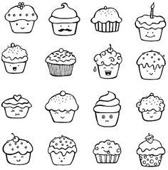 cute cupcake doodles planner and Bullet Journal art Doodle Inspiration, Bullet Journal Inspiration, Doodle Drawings, Easy Drawings, Bujo Doodles, Food Doodles, Cupcake Drawing, Cupcake Art, Kawaii Doodles