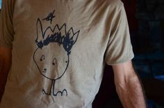 freezer paper stencil kid artwork onto a t-shirt!