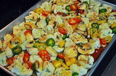 Roasted Cauliflower and Garlic Pepper Cream Chicken. Carb-free, low sodium, low sugar, high protein meal. Cook healthy this year with: Fresh Cooking=Happy People: 2014 Healthy Resolutions and Cooking Lean and Green