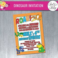 Printable, Digital Dinosaur birthday invitation by JustForYouByJenny on Etsy Custom Party Invitations, Dinosaur Birthday Invitations, All Dinosaurs, You Are Invited, Printables, Digital, Etsy, Print Templates, Printable Templates