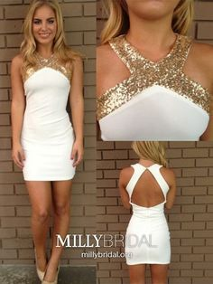 White Homecoming Dresses Short, Sheath Prom Dresses Fitted, Sexy Sweet Sixteen Dresses Open Back, Sparkly Graduation Dresses Sequin Dresses Short, Short Mini Dress, Dresses For Teens, Formal Dresses, Cheap Dresses, Court Dresses, Dresses 2016, Formal Prom, Mini Dresses