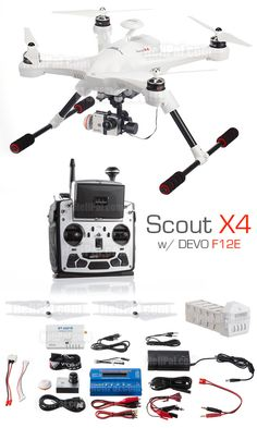 """One stop solution, it includes EVERYTHING to shoot aerial footage. Open box ready to shoot video - Included the Scout X4 Drone, a 12-Ch RC controller with 5"""" FPV Monitor, HD Camera on a 3-Axis Gimbal, Ground Control Station Box, Battery and Charger.... everything! http://www.helipal.com/walkera-qr-scout-x4-gps-drone-2-4ghz-rtf-edition.html"""
