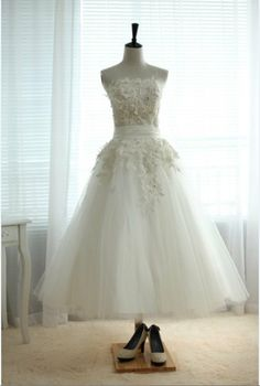 Lace Tulle Wedding Dress Tea Length Short Dress for Outdoor Wedding on Etsy, $119.00