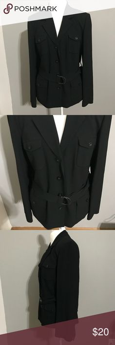 Talbots Black Career Belted Blazer Size 16 Black button up belted blazer with 4 front pockets. In Great Shape!! Made of 57% acetate, 43% viscose and the lining is made of 100% polyester. Blazer length is 26 1/2 inches, across the chest is 23 inches and the sleeve length is 18 inches. Talbots Jackets & Coats Blazers
