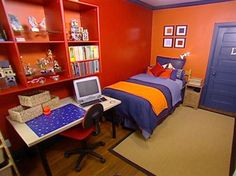 orange and red kids room