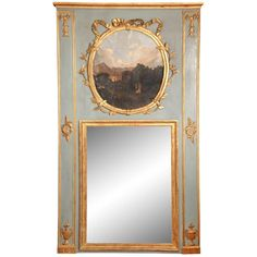 Painted French Louis XVI Style Trumeau Mirror, circa 1840   From a unique collection of antique and modern trumeau mirrors at https://www.1stdibs.com/furniture/mirrors/trumeau-mirrors/