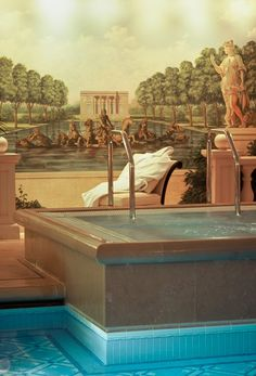 The Swimming Pool in Four Seasons Hotel George V Paris with the wonderful Versailles vue #luxury #travel contact me to arrange your travel www.lushlife.ca #preferredpartner