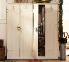 This lady found old cabinets in her storage shed and will make them over to be like the pottery barn ones in the picture!