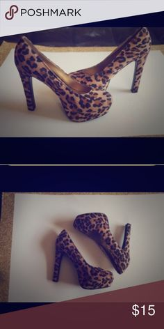 Leopard print platform heels 5 inch sexy heels Mossimo Supply Co Shoes Platforms