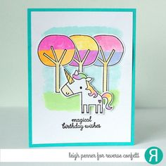 Card by Leigh Penner. Reverse Confetti stamp set and Coordinating Confetti Cuts: Unicorn Wishes. Birthday card.