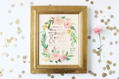 Printable Bible Verse Print, Digital Download, Proverbs 21:35, Girly, Rose Gold, Floral Wreath, Watercolor Flowers, Nursery Wall Art by acresabloom on Etsy