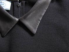 PRADA 黒の素晴らしい肌触りのニットにレザーの衿が付け衿風に ついたニットのドレスです。 ベルトもセットになります。 サイズ 42 肩幅 37 身幅 42 袖丈 22 着丈 107 ヒップ 90 バージンウール 72 ウール 25 ナイロン 3 BLACK 衿 革/ナッパレザー ベルト 羊革 裏地なし ポケットなし 中古ですがきれいなコンディションです。 はっきりと購入シーズンはわかりませんが ここ数年の2012年以降の商品のようです。 素材がとても良く、ベルトもセットですので 定価はかなり高いの...