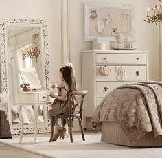 RH Baby & Child's Vintage Hand-Carved Floral Leaner Mirror:Our hand-carved wooden mirrors are graced with intricate detailing for a luxurious, Old-World look. Vintage Girls Rooms, Vintage Room, Kids Bedroom Designs, Kids Room Design, Girls Bedroom, Bedroom Decor, Bedrooms, Interior Desing, Toddler Rooms