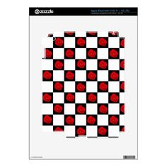 Checkered Red Roses Skin For iPad 3