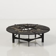 Pia Manu - Coffee Table, Torch-Cut Steel With Inset Pyrite, 1970s