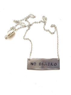 "Stamped Metal Silver Bar Necklace: Umphrey's McGee Song - ""No Diablo""  by GypsiesEnReglia on Etsy!"