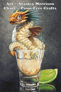 Tequila Wyrm - emailed PDF cross-stitch chart / pattern, original art © Stanley Morrison licenced by Paine Free Crafts Dragon Scale, Dragon 2, Fire Dragon, Magical Creatures, Fantasy Creatures, Dragon Figurines, Dragon Pictures, Cute Dragons, Cross Stitch Art
