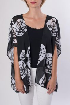 Short black and white printed kimono. Looks great over white or black pants!    Black Printed Kimono by My Beloved. Clothing - Jackets, Coats & Blazers - Kimonos & Wraps Orange County, California