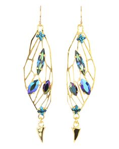 Michael Spirito Small Stoned Wing Earring Gold wing base