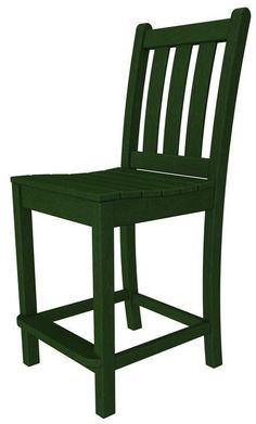 Polywood TGD101GR Traditional Garden Counter Side Chair in Green