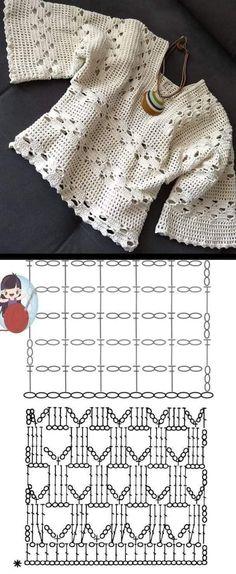 Crochet T Shirts, Crochet Halter Tops, Crochet Cardigan, Crochet Clothes, Crochet Stitches For Beginners, Crochet Stitches Patterns, Thread Crochet, Knit Crochet, Doilies Crochet