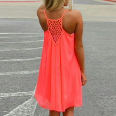 Fluorescent summer dress Chiffon, florescent orange, beach dress or you can ware it as a top with a pair of shorts; its light and flowy, fully lined; fun, beechy and girly; size is xl but in my opinion it fits a large perfectly, and a medium if you like it spacious; new without tags; Dresses Mini