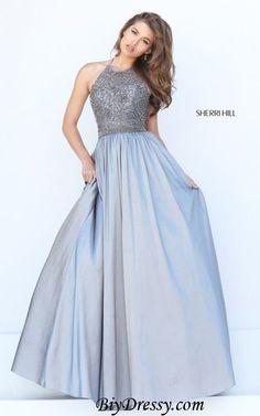 2016 Sherri Hill 50221 Beaded Halter Gunmetal Prom Dress