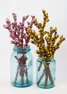 Spring Branches made from chocolate, pretzel sticks + candies. Easier than it looks. Wow.