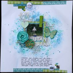 Saras pysselblogg - Sara Kronqvist | Turquoise and green scrapbook layout with mixed media techniques
