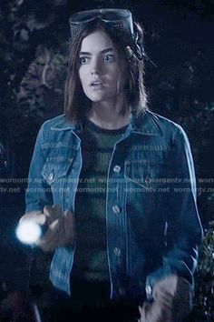 Aria's green striped top and denim jacket on Pretty Little Liars.  Outfit Details: https://wornontv.net/58607/ #PLL