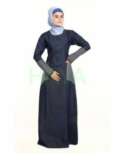 Stylish and contemporary Denim Abayas Muslim Dress, Hijab Dress, Modest Clothing, Modest Outfits, Denim Abaya, Hijab Fashion, Women's Fashion, Islamic Clothing, Abayas