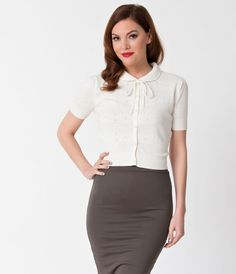 Collectif Ivory Perforated Short Sleeve Button Up Carly Cardigan