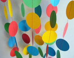 Great birthday party decoration! This paper garland is approximately 10 feet long and would look great at your childs next birthday party, in