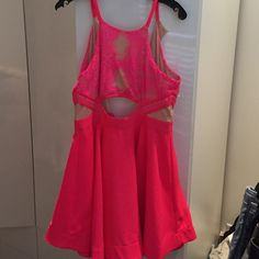 Gorgeous Lace Skater Flare Dress Pink size L Hot!!!!!! Never worn!! New with tag! Dresses Mini