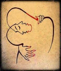 """""The Embrace"" - Artist Josef Kunstmann. The Embrace, Lovers Embrace, Simple Lines, Art Plastique, Optical Illusions, Mail Art, Love Art, Art Drawings, Art Photography"