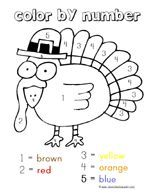 color by number Turkey...just one of many in the Thanksgiving Preschool Pack