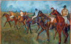 Degas 'horses in the rain', se interesa por el móvil oro como se aprecia en sus carreras de caballos.