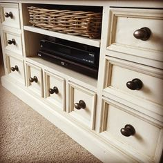 A small up cycle project for our TV cabinet; painted in light grey chalk paint with a subtle layer of dark wax to create a vintage look and new drawer knobs. #shabbychic #vintagehome #house #home #upcycle #interior