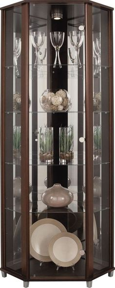 Beautiful Wood and Glass Corner Display Cabinets