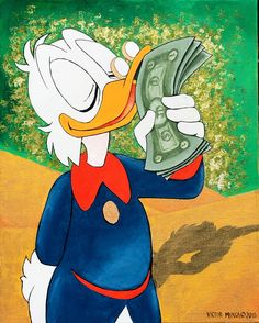 Scrooge Mcduck Kissing Money Original