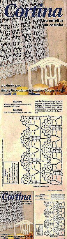 АЖУРНАЯ ЗАНАВЕСКА КРЮЧКОМ.: Crochet Motifs, Crochet Stitches Patterns, Crochet Art, Crochet Home, Filet Crochet, Irish Crochet, Crochet Doilies, Crochet Curtains, Lace Curtains